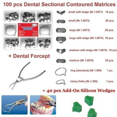 100 pcs Dental Sectional Contoured Matrices Matrix + Dental Forceps + Wedges TOR