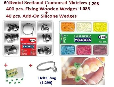 50pcs Dental Sectional Contoured Matrices Matrix + Ring Delta as Palodent Tor VM