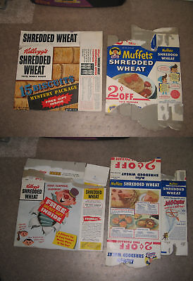 cereal box (left box) Kelloggs Shredded Wheat 1950s CLOWN Jack in the box