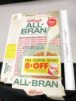 cereal box KELLOGGS 1950s ALL BRAN 8 cents off SPRY shortening offer recipe