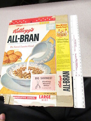 cereal box KELLOGGS 1960 ALL BRAN natural laxative pinking shears premium offer
