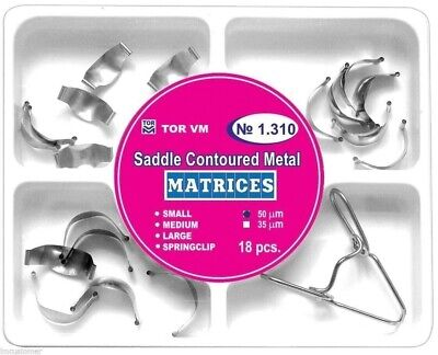 Dental Saddle Contoured Metal Matrices Matrix 18 with Springclip TOR VM № 1.310