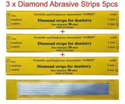 Dental Abrasive Diamond STAINLESS STEEL Strips finishing polishing Soft 3x5pcs