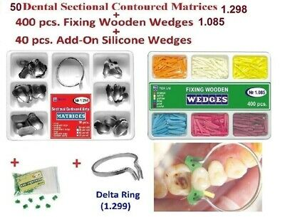 50 Dental Sectional Matrices + Ring Delta + 400 Fixing Wedges + 40 Add-On Wedges