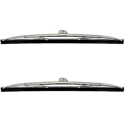 "12"" Ford & GM Polished Stainless Windshield Wiper Blade Blades Wrist Type Pair"