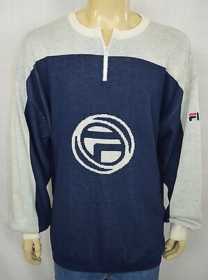 VTG Fila Blue & White Logo Print Sweater 1/4 Zipper Mens Sz XL RETRO Hip Hop