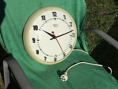 """Vintage SMITHS SECTRIC Office / School Wall Clock -13 1/2"""" Diameter -Not Working"""