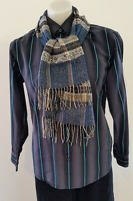 Mens Shades BLUE GREY BEIGE Woven WOOL BLEND Fringed Winter Neck SCARF