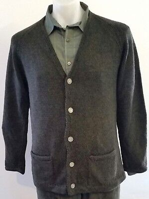 Mens Vintage 80s HAND KNITTED V Neck DARK GREEN Pure Wool CARDIGAN size L