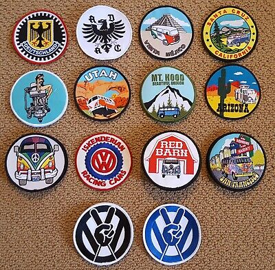 VW Embroidered Patches (Medium) Split Oval Bug Bus Ghia (SOLD INDIVIDUALLY)