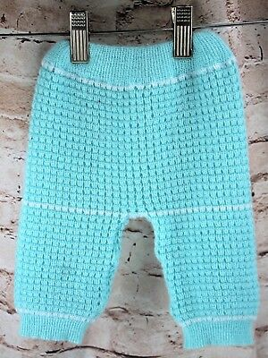 Vintage Green White Acrylic Sweater Pants Baby Size 6-9 Months Elastic Waist