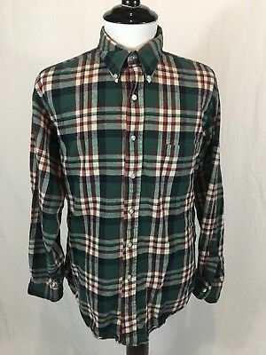 Vintage LL Bean Flannel Shirt Men's Large Green Plaid Long Sleeve Made In USA