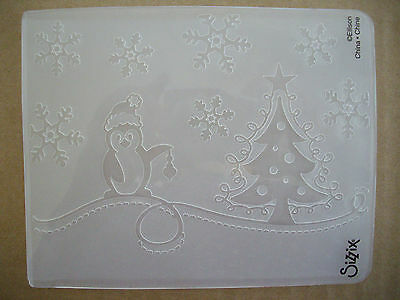 Christmas Tree Penguin Snowflakes Embossing Folder - Use with Cuttlebug & Sizzix
