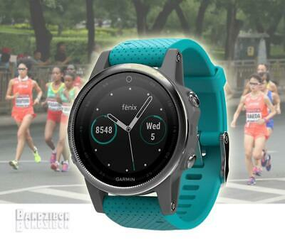 GARMIN Fenix 5S Watch Silver Turquoise Band GPS HRM Sports Running Triathlon