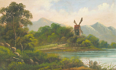 Gilt Framed Early 20th Century Oil - Windmill in a Landscape