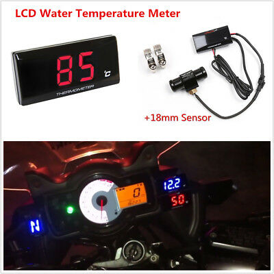 Universal Motorcycle Thermometer Water Temp Gauge Meter w/ 18mm Sensor Head Plug