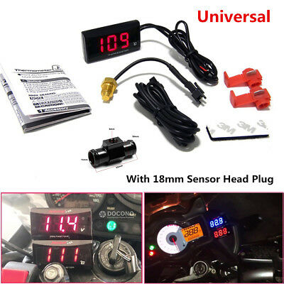 Red LCD Digital Motorcycle Water Temp Thermometer Gauge w/ 18mm Sensor Head Plug