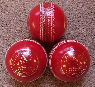 3x RED Cougar 4 Piece LEAGUE SPECIAL Training Quality Cricket Ball - Oz Stock