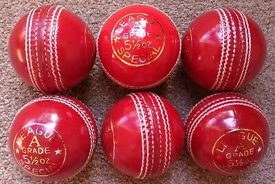 6x RED Cougar 4 Piece LEAGUE SPECIAL Training Quality Cricket Ball - Oz Stock