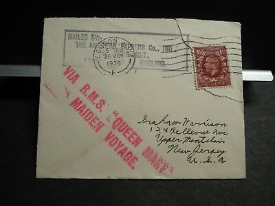 RMS QUEEN MARY Naval Cover 1936 MAIDEN VOYAGE  LONDON, ENGLAND