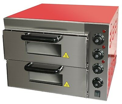 """Commercial Baking Oven Fire Stone Electric Pizza Oven 2 x 16"""" Twin Deck"""