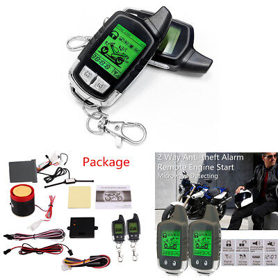 Motorcycle Alarm System 2 Way LCD Remote Engine Start Immobiliser Shock Warning