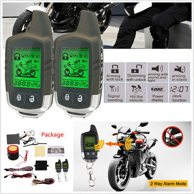 Motorcycle Alarm System 2 Way LCD Remote Starter Microwave Sensor Shock Warning