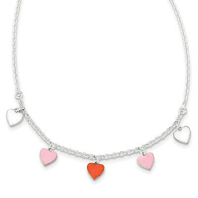 Sterling Silver Polished Enamel Heart Childs Necklace 14""