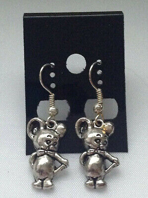 "Antique Silver ""jerry The Mouse"" (Tom & Jerry Cartoon) Dangle Earrings Handmade"