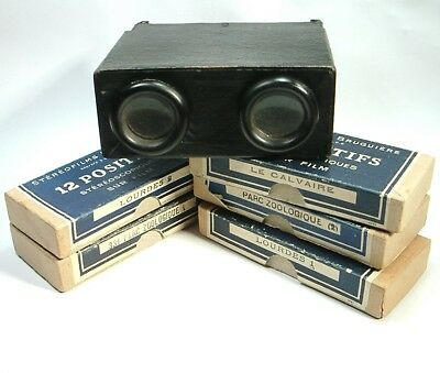 Vintage Stereo Viewer Stereoscope & 5 Boxes 60 Stereo Photos