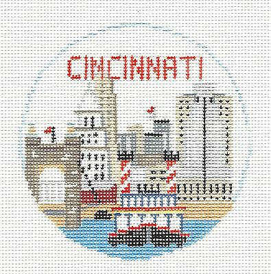 SP.ORDER ~ CINCINNATI, OHIO  handpainted Needlepoint Ornament Kathy Schenkel RD.