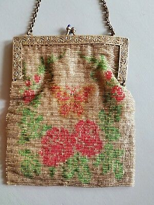 Antique 1930's Beaded Butterfly Purse Hand Bag Collectible Colorful