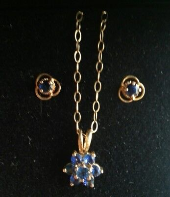 Vintage 9ct Gold Sapphire Cluster Necklace & Earrings Boxed