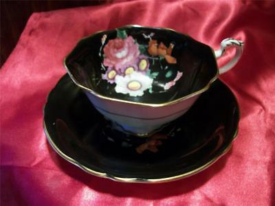 *** **black Paragon Cup/saucer Rose And Daisy..