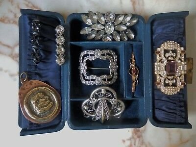 Job Lot Of Antique Vintage Jewellery Brooches Old Paste Gold Art Deco Victorian