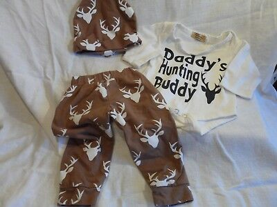 Baby clothes 3 piece set . daddy hunting buddy sz 3 -6 month