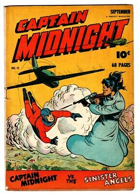 Captain Midnight #12 1943-Fawcett-Mac Raboy cover-WWII era thrills