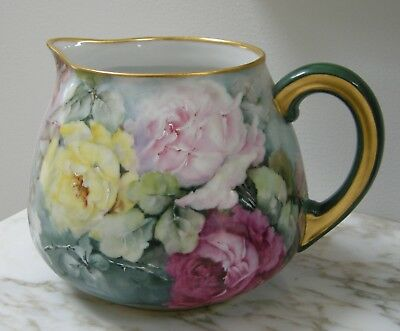 Antique T&V Limoges France Large Pitcher Hand Painted ROSES Artist Signed
