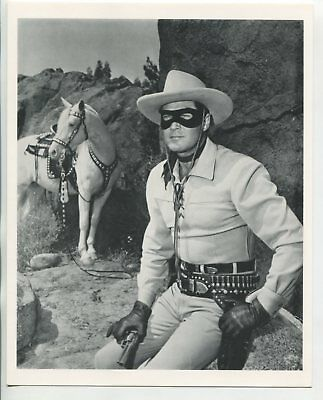 """The Lone Ranger 8""""x10"""" Black and White Fan Card Clayton Moore FN"""