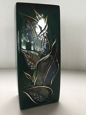 VTG MCM Signed SASCHA BRASTOFF VASE Mid Century Painted Gold Leaves