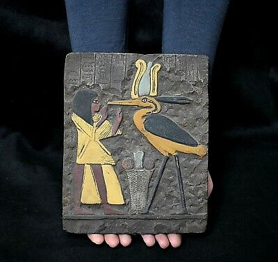 ANCIENT ANTIQUE Egyptian plaque THOTH as  Bird IBIS (1500-300 BC)