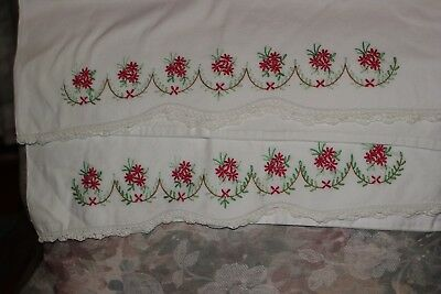 Pair of Antique Vintage Embroidered Pillowcase Red Flowers - Lovely
