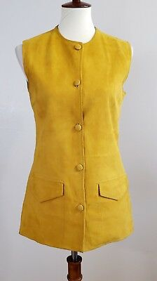 1970s Montgomery Ward Yellow Genuine Suede Leather and Wool Vest Size Medium