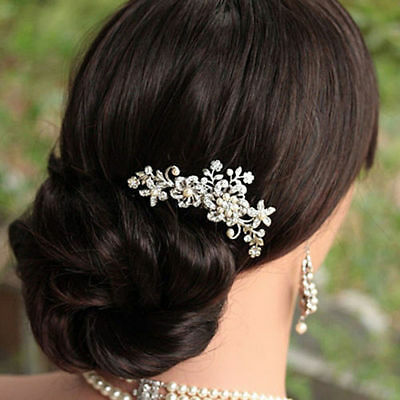 New Crystal Flower Bridal Wedding Headpiece Prom Party Pearl Flower Hair Comb