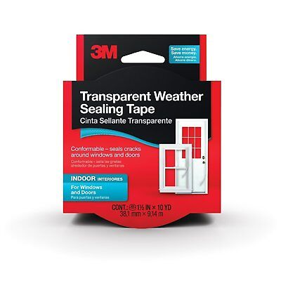 3M Interior Transparent Weather Sealing Tape, 1.5-Inch by 10-Yard (2Pack)