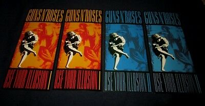 Guns N Roses-Use Your Illusion I & Ii-Set Of 4 Vintage Advertising Promo Cards