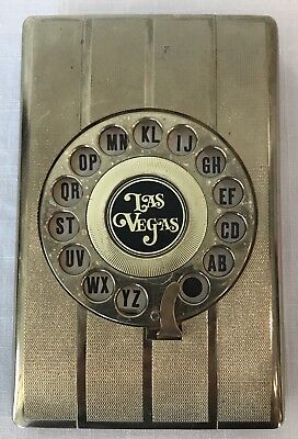 Vintage Eagle Address Contact Finder Gold Las Vegas Rotary Dial Flip Open Unused