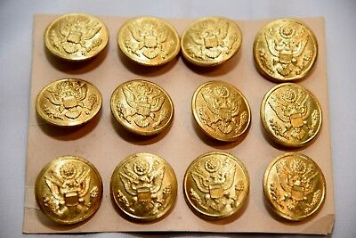 """12 Pack of WWII US Army Eagle Overcoat Brass Button 1 1/8"""" American Emblem Co"""