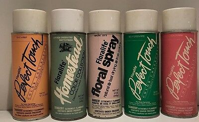 5 Various Floralife Vtg Spray Paint Cans