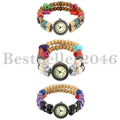 Handmade Tribal Strand Wooden Beads Bracelet Quartz Wrist Watch for Women Girls